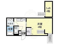 ラ・フォーレ守口 4階ワンルームの間取り
