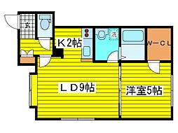 北海道札幌市東区北十九条東19丁目の賃貸アパートの間取り