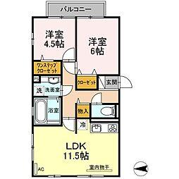 神奈川県横浜市青葉区あかね台1丁目の賃貸アパートの間取り