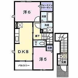 プラティーク B[2階]の間取り