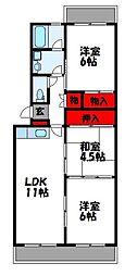 西鉄貝塚線 和白駅 徒歩10分の賃貸マンション 3階3LDKの間取り