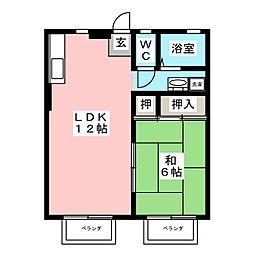 タウニートヨタ A[2階]の間取り