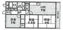ルミエール武庫之荘[505号室]の間取り