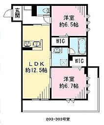 南海線 高石駅 徒歩10分の賃貸アパート 2階2LDKの間取り