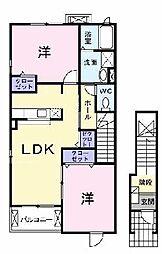 兵庫県加東市下滝野1丁目の賃貸アパートの間取り