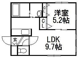 KI.Hassamu4−4[2階]の間取り