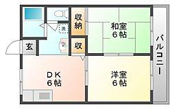 岡山県岡山市中区八幡の賃貸アパートの間取り