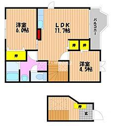 岡山県玉野市田井3の賃貸アパートの間取り