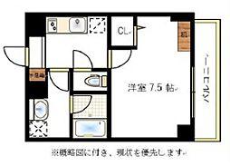JR宇野線 大元駅 徒歩6分の賃貸マンション 6階1Kの間取り