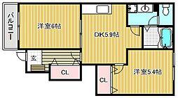 滋賀県近江八幡市江頭町の賃貸アパートの間取り