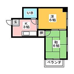 ハイツ西口田中ビル 6階2Kの間取り