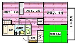 広島県広島市安佐南区東原3丁目の賃貸アパートの間取り