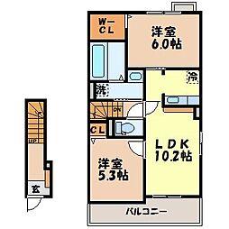 サンセット ヒル 2階2LDKの間取り