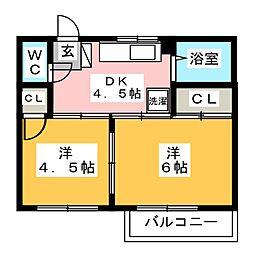 サンハイツ B棟[2階]の間取り