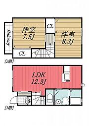 [タウンハウス] 千葉県四街道市和良比 の賃貸【千葉県 / 四街道市】の間取り
