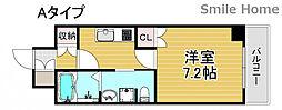 南海線 岸里玉出駅 徒歩6分の賃貸マンション 3階1Kの間取り