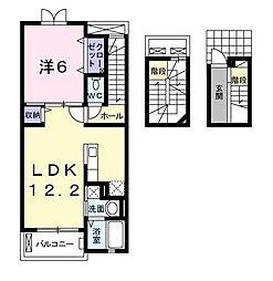埼玉県新座市野寺1丁目の賃貸アパートの間取り