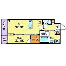東京メトロ南北線 六本木一丁目駅 徒歩3分の賃貸マンション 14階1DKの間取り