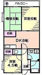 神奈川県相模原市中央区南橋本3丁目の賃貸マンションの間取り