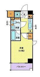 メイクスデザイン武蔵小杉アジールコート 2階1Kの間取り