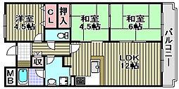 ヒュースー丘弐番館[506号室]の間取り