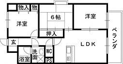 リーガルハイツ 吉原2 吉田9分[5階]の間取り