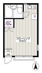 東京都府中市武蔵台1丁目の賃貸アパートの間取り