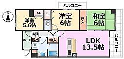 コスモシティ尼崎[514号室号室]の間取り
