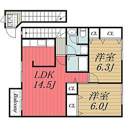 千葉県八街市大木の賃貸アパートの間取り