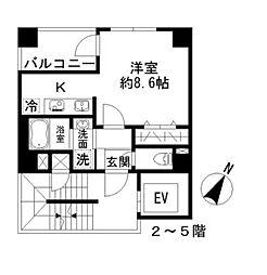 Azur勝どき4丁目(アジュール勝どき4丁目) 3階ワンルームの間取り