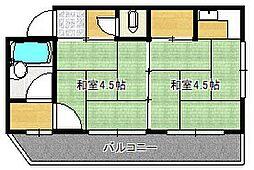 大阪府茨木市西河原2丁目の賃貸アパートの間取り