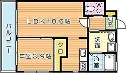 福岡県北九州市若松区浜町1丁目の賃貸マンションの間取り