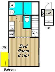 仮称)浜田山新築計画 2階1Kの間取り
