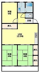 愛知県岡崎市東大友町字松花の賃貸マンションの間取り