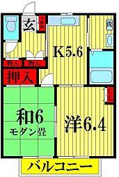 埼玉県越谷市千間台東3丁目の賃貸アパートの間取り