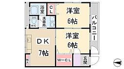 兵庫県川西市南花屋敷2丁目の賃貸マンションの間取り