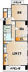 ミリオンコーポラス白菊[7階]の間取り