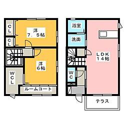 [テラスハウス] 静岡県浜松市東区豊町 の賃貸【/】の間取り