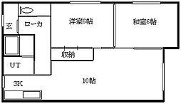 北海道札幌市南区川沿十七条2丁目の賃貸アパートの間取り