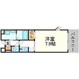 兵庫県尼崎市御園2丁目の賃貸マンションの間取り