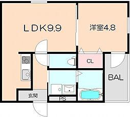 大阪府豊中市服部本町5丁目の賃貸アパートの間取り