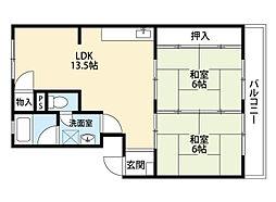 福岡県北九州市小倉北区赤坂3丁目の賃貸マンションの間取り