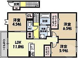 グリーンコートHIII 2階3LDKの間取り