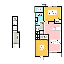 ヴァンベールB[2階]の間取り