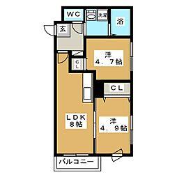 メゾンド桜[4階]の間取り