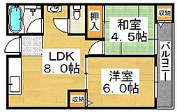 阪和ハイツ[4階]の間取り