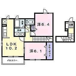 茨城県龍ケ崎市平台4丁目の賃貸アパートの間取り