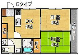 帝塚山サニーハイツ[2階]の間取り
