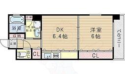 エストリーヴル2 6階1DKの間取り