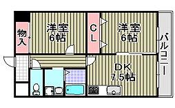 大阪府和泉市府中町5丁目の賃貸マンションの間取り